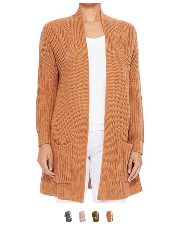 Women's Stylish Drape Long Sleeve Sweater Cardigan Jacket with Two Pockets HK8189