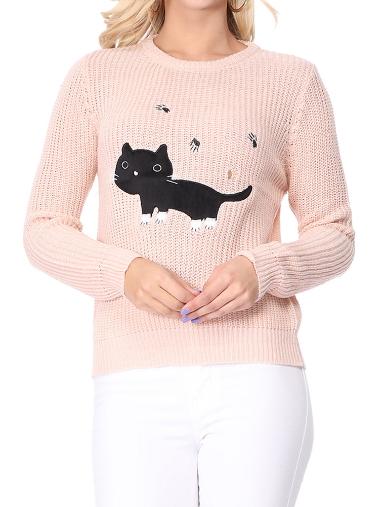 YEMAK Women's Black Cat Applique Crewneck Long Sleeve Casual Knit Pullover Sweater MK8207