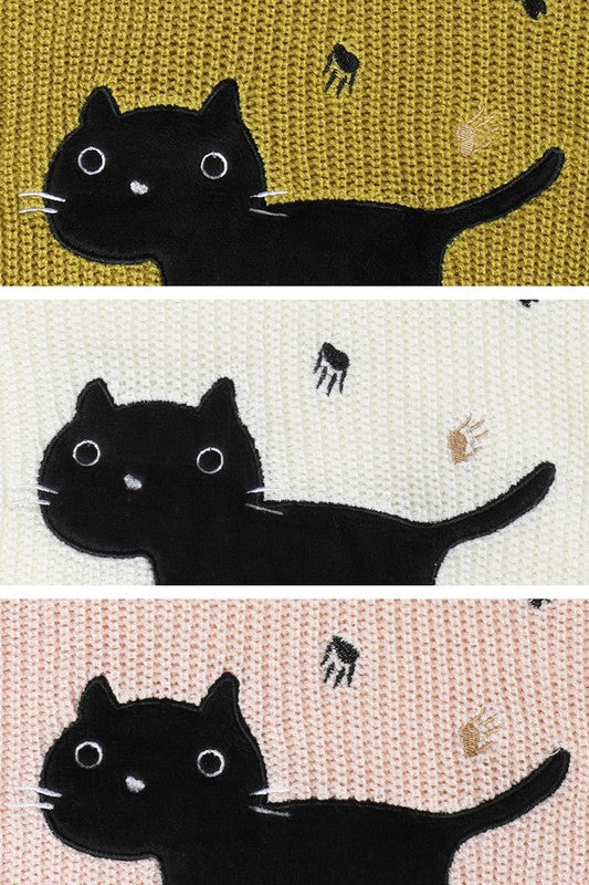 Black Cat Applique Knit Sweater