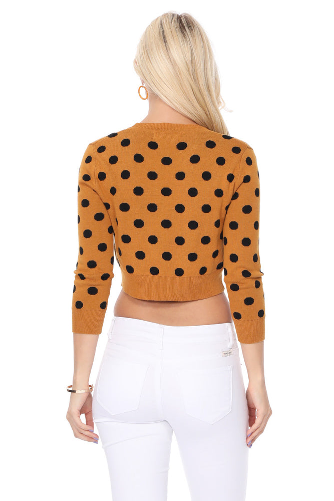 YEMAK Women's 3/4 Sleeve V-Neck Polka Dot Cropped Bolero Sweater Cardigan MK8213 (S-L)