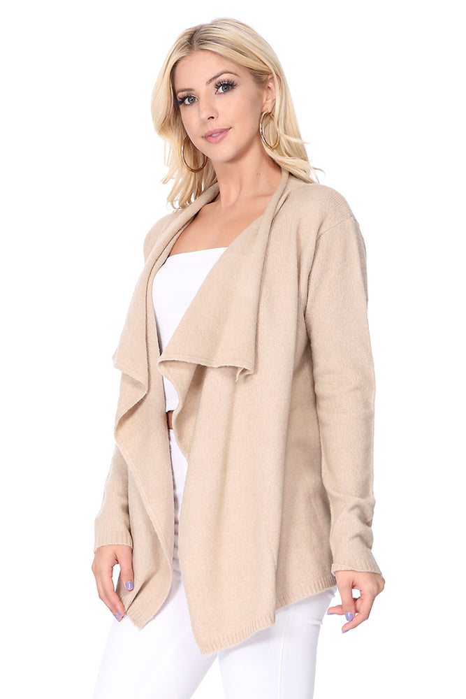 YEMAK Women's Long Sleeve Open Front Draped Stylish Cape Sweater Cardigan MK8218 (S-L)