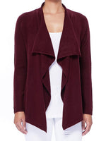 Womens Open Front Long Sleeve Draped Stylish Cardigan Sweater MK8218 - Cardigans-Sweaters