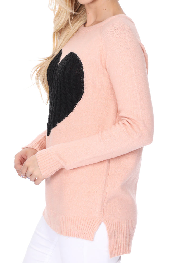 YEMAK Women's Pullover Sweater Long Sleeve Crewneck Heart Knitted Top Sweaters MK8236 (S-L)