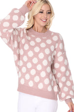 Yemak Women's Chunky Polka Dot Crewneck Long Sleeve Top Sweater Pullover MK8253