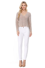 Yemak Women's Long Sleeve V-Neck Cropped Summer Pullover Knit Sweater MK8268 (S-L)