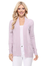 Yemak Women's Long Sleeve Open Front Knit Long Sweater Cardigan with Pockets MK8558 (S-XL)