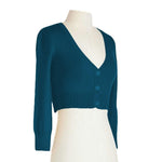 Women's Cropped 3/4 Sleeves Cardigan Sweater Inspired PinUp CO129PL (1X-4X)PLUS size Color(2 of 2) - Yemak Sweater