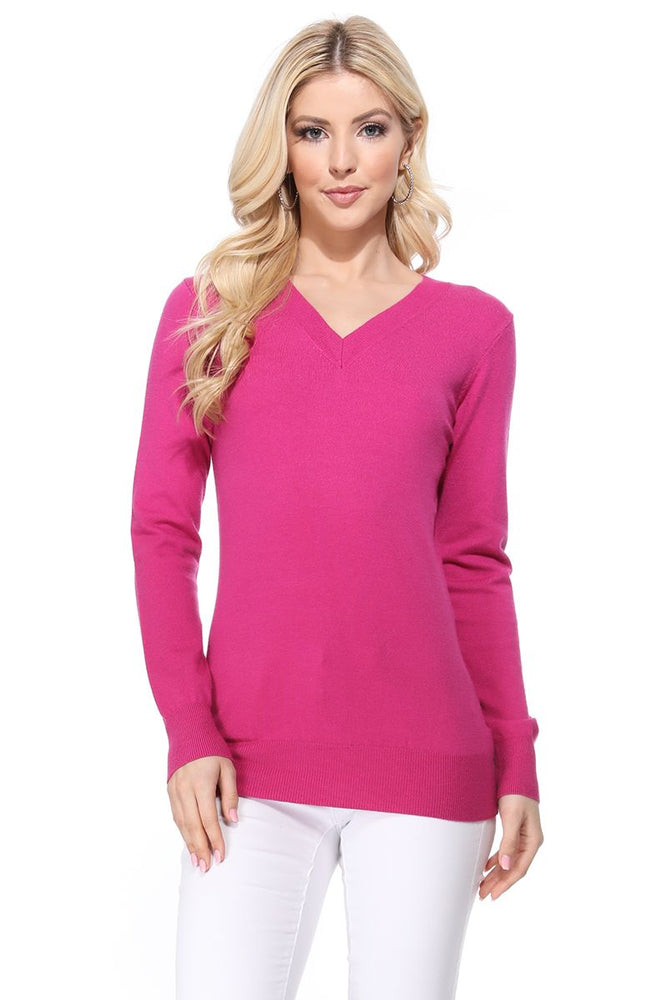 YEMAK Women's Long Sleeve V-Neck Basic Soft Knit T-Shirt Pullover Sweater MK5501 (S-XL)