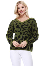 YEMAK Women's Chunky Leopard Patterned V-Neck Long Sleeve Top Sweater Pullover MK8252