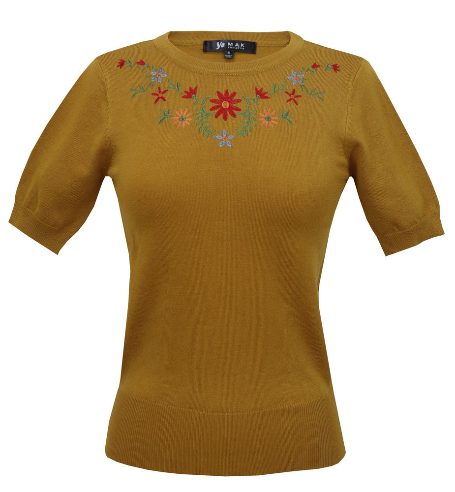 Daisy Embroidered Sweater Pullover Vintage Inspired S-L Pinup by Mak 3664EMBO(S-L) - Pullover