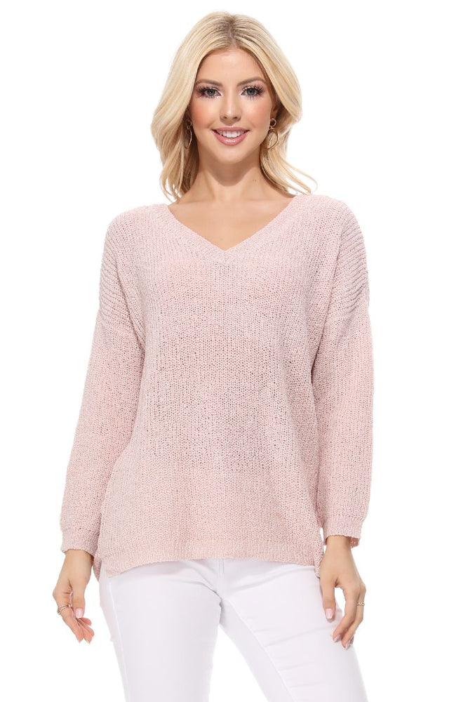 YEMAK Women's Long Sleeve V-Neck Back Cutout Casual Knit Pullover Summer Sweater MK8144