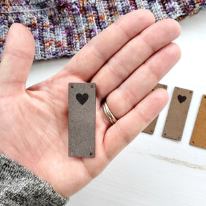 Faux Suede Fold-over Heart Tags
