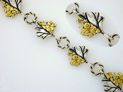 BR032  Maple Leaf Bracelet with Nuggets
