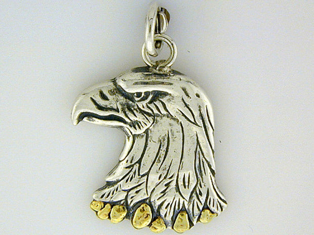 C014  Eagle Head Charm with Nuggets