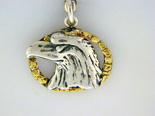 C022  Eagle Head Oval Charm with Nuggets