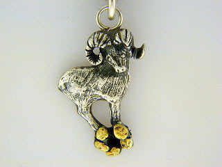 C024  Dall Sheep Charm with Nuggets