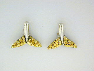 EP032  Whale Tail All Silver Earring Posts