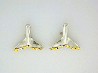 EP033  Whale Tail Silver Earring Posts