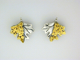 EP069  Maple Leaves Silver Earring Posts