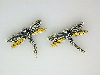 EP076  Dragonfly Silver Earring Posts
