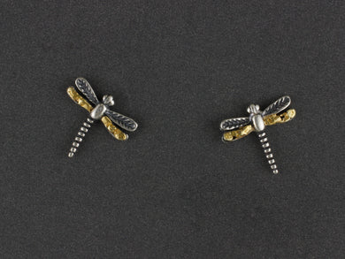 EP077  Dragonfly Small Silver Earring Posts