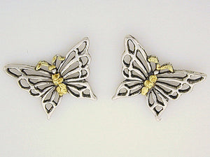 EP080  Butterfly Medium Silver Earring Posts