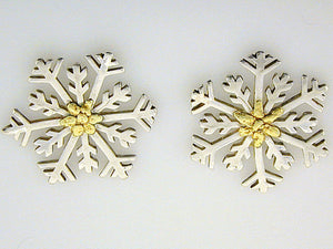 EP082  Snowflake with Large Silver Earring Posts