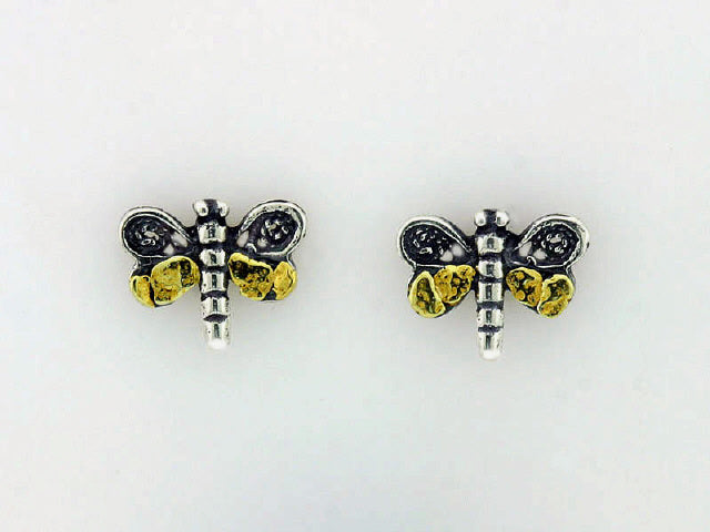EP184  Earring Posts Dragonfly with Nuggets