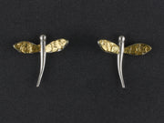 EP235SN  Silver Dragonfly with Gold Nugget Wings