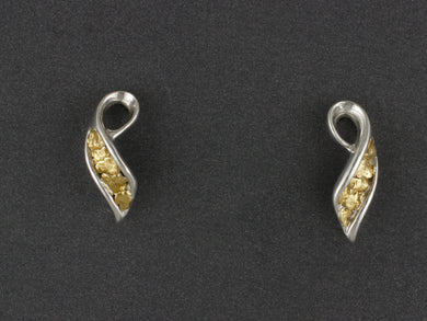 EP266SN   Silver Swirls Channel Alaskan Gold Nuggets Ear Posts
