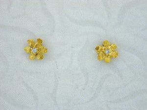 EP269 14kt Flower with Tiny Earring Posts with Diamonds
