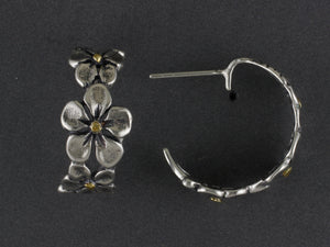 EP421 Silver Hoop Flower with Gold Nuggets