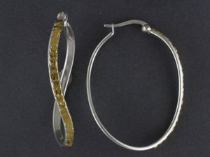 EP455LG    Large Silver Swirl Hoops highlighted with Alaskan Gold Nuggets