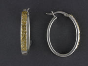 EP486   Large Wide Long Silver Hoop with Nuggets