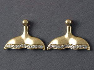 EP901D  Earring Posts Whale Tail 14kty & Diamond