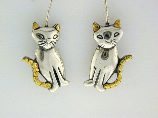 EW063  Cat Earring Wires Silver