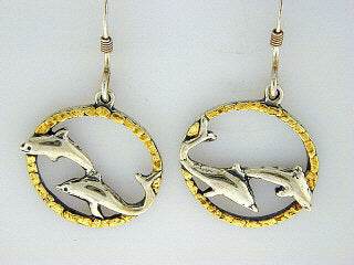 EW068  Dolphins Twitho Earring Wires