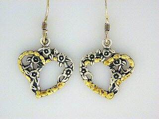 EW076  Heart Flower with Earring Wires