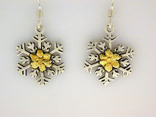 EW108  Snowflake with Medium Earring Wires