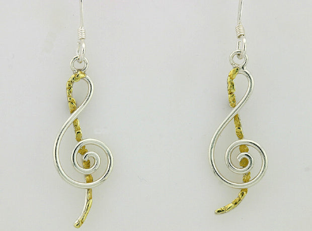 EW165  Musical Earring Wires Silver