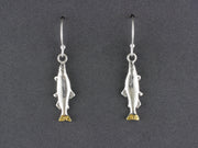 EW192M     Silver Salmon Medium Earwires with Gold Nugget Tail