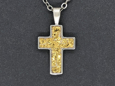 N054 Silver Channel Cross highlighted by Nuggets