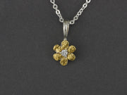 N308S-Dia  Flower with Medium Silver & Nuggets with Diamond Pendant