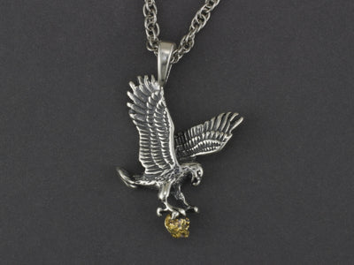 N045  Flying Silver Eagle Pendant Clutching a Gold Nugget