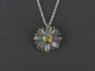 N088  Silver Flower Pendant with Alaskan Gold Nuggets in Center