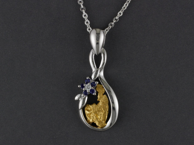 N814SCZ   Silver Forget-me-not Pendant with Nugget and CZ Flower with Alaskan Gold Nugget