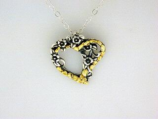 N008  Heart Forget-Me-Not pendant