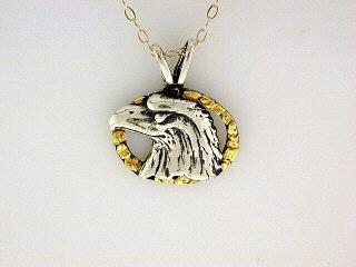 N036  Eagle Head Oval pendant