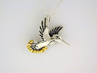 N097  Hummingbird Necklace Silver