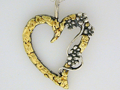 N102  Heart with/Flower with Large Necklace